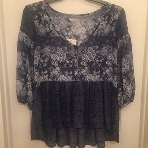 Navy Blue & White Floral Blouse